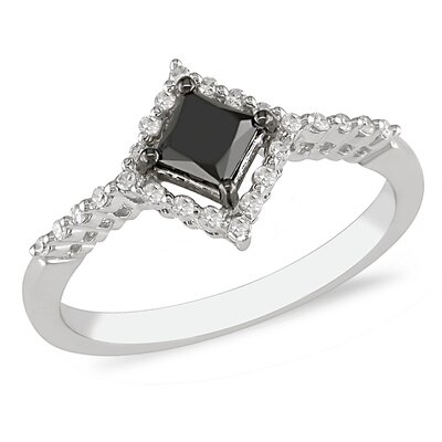 White Gold Black and White Diamonds Fashion Ring