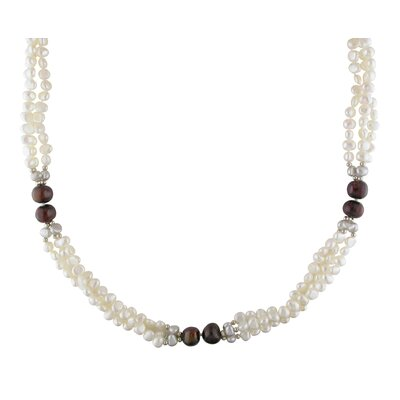 Metal Beads Goldtone Brown, White and Grey Freshwater Pearl Necklace