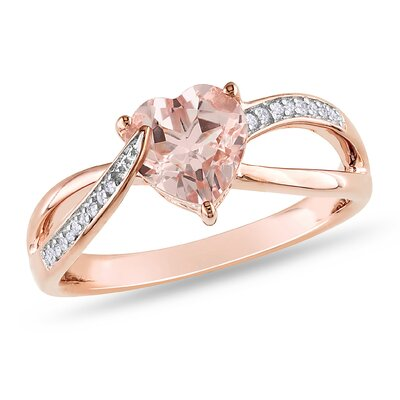 Pink Silver Round Cut Diamond Fashion Ring Size 7 Pink Silver Round Cut Diamond