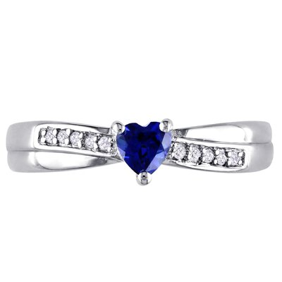 Amour Sterling Silver Heart Cut Gemstone Ring - Size: 7, Stone: Blue Sapphire, Total Carats: .25