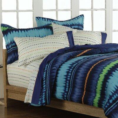 Boys Teen Retro Blue Tie Dye Stripe 5 Piece Twin Comforter Set - tiedyetw