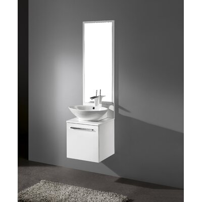 Alassio 17 Single Bathroom Vanity Set with Mirror Base Finish: Glossy White
