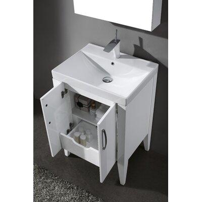Caserta 24 Single Bathroom Vanity Set Base Finish: Glossy White