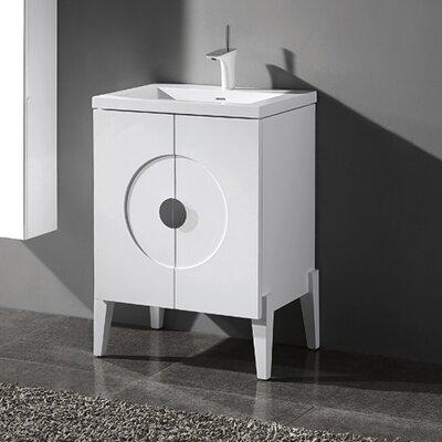 Genova 24 Single Bathroom Vanity Set Base Finish: Glossy White