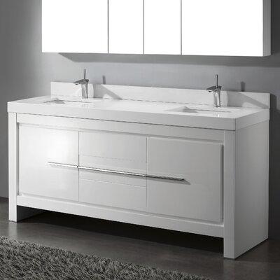 Vicenza 72 Double Bathroom Vanity Set Base Finish: Glossy White