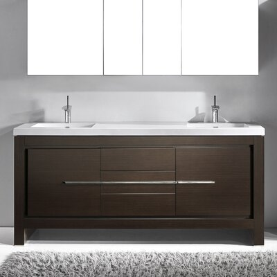 Vicenza 72 Double Bathroom Vanity Set Base Finish: Walnut