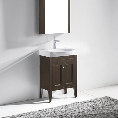 Sanremo 24 Single Bathroom Vanity Set Base Finish: Walnut
