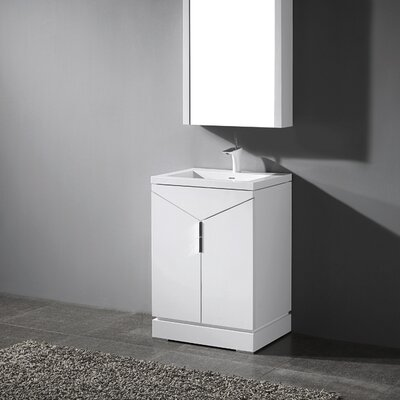 Savona 24 Single Bathroom Vanity Set Base Finish: Glossy White