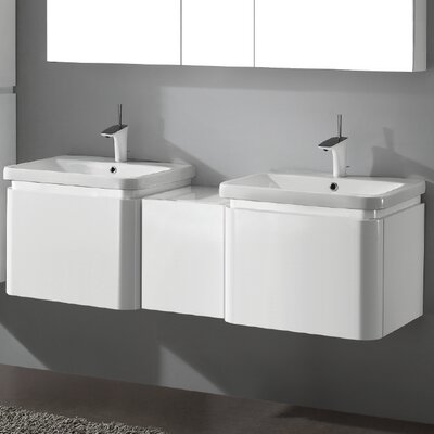 Euro 60 Double Vanity Set Finish: Glossy White
