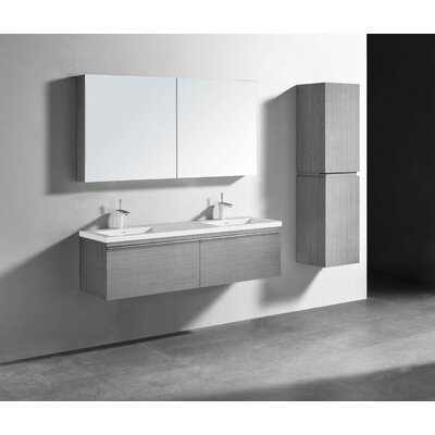 Venasca 60 Double Bathroom Vanity Set Finish: Ash Gray