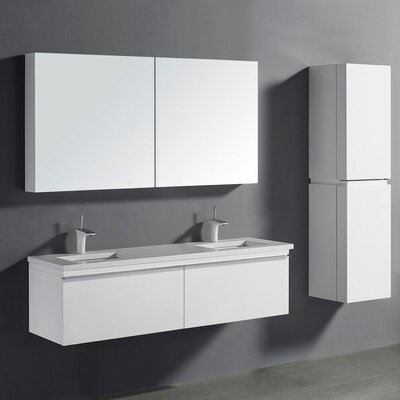 Venasca 60 Double Bathroom Vanity Set Finish: Glossy White