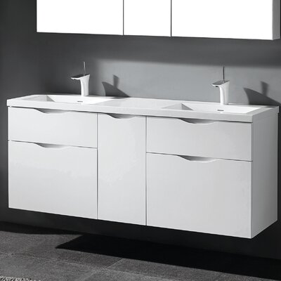 Bolano 60 Double Bathroom Vanity Set Base Finish: Glossy White