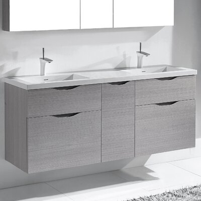 Bolano 60 Double Bathroom Vanity Set Base Finish: Ash Gray