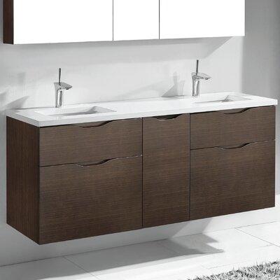 Bolano 60 Double Bathroom Vanity Set Base Finish: Walnut