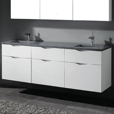 Bolano 72 Double Bathroom Vanity Set Base Finish: Glossy White