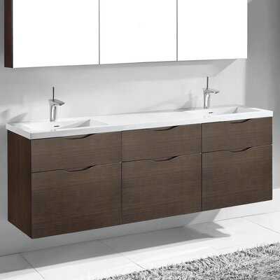 Bolano 72 Double Bathroom Vanity Set Base Finish: Walnut