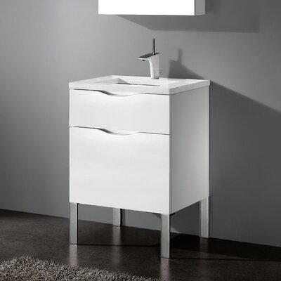 Milano 24 Single Bathroom Vanity Set Base Finish: Glossy White