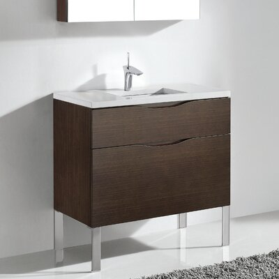 Milano 36 Bathroom Vanity Set Base Finish: Walnut