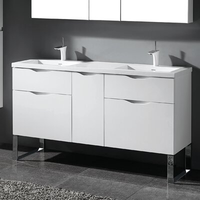 Milano 60 Double Bathroom Vanity Set Base Finish: Glossy White