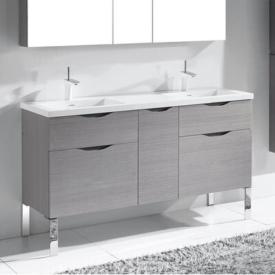 Milano 60 Double Bathroom Vanity Set Base Finish: Ash Gray