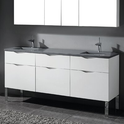 Milano 72 Double Bathroom Vanity Set Base Finish: Glossy White