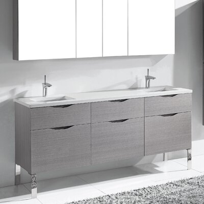 Milano 72 Double Bathroom Vanity Set Base Finish: Ash Gray