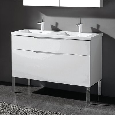 Milano 48 Double Bathroom Vanity Set Base Finish: Glossy White