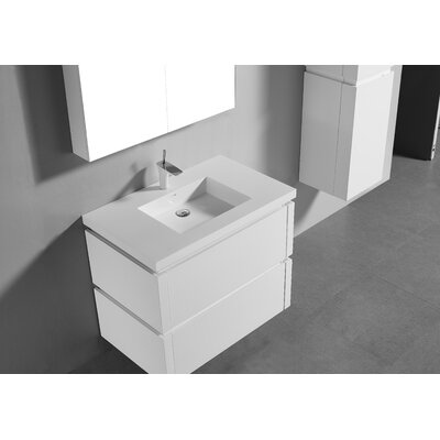 Cube 36 Single-Hole Bathroom Vanity Set Base Finish: Glossy White