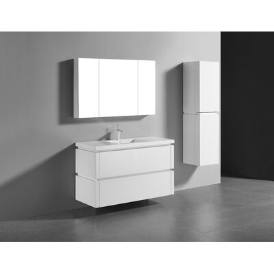 Cube-48 Single-Hole Bathroom Vanity Set Base Finish: Glossy White
