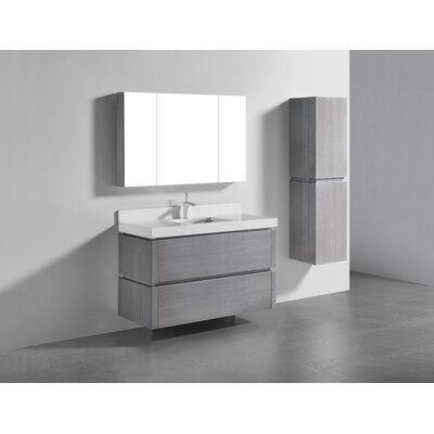 Cube-48 Single-Hole Bathroom Vanity Set Base Finish: Ash Gray