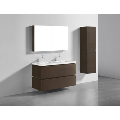 Cube 48 Double Bathroom Vanity Set Base Finish: Walnut