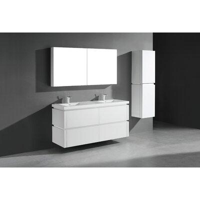 Cube-60 Double Bathroom Vanity Set Base Finish: Glossy White