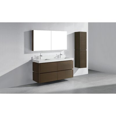 Cube-60 Double Bathroom Vanity Set Base Finish: Walnut