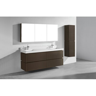 Cube 72 Double Bathroom Vanity Set Base Finish: Walnut