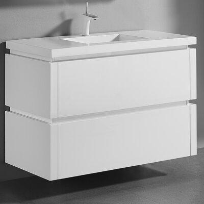 Cube 42 Single-Hole Bathroom Vanity Set Base Finish: Glossy White