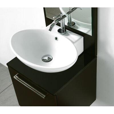 Alassio Above Counter Ceramic Oval Vessel Bathroom Sink with Overflow
