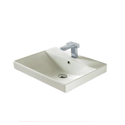 Rectangular Vessel Bathroom Sink with Overflow Finish: Biscuit Ceramic with Overflow