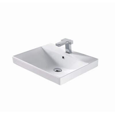 Rectangular Vessel Bathroom Sink with Overflow Finish: White Ceramic with Overflow