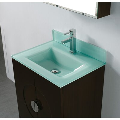 Tempered Glass Self Rimming Bathroom Sink Sink Finish: Evergreen