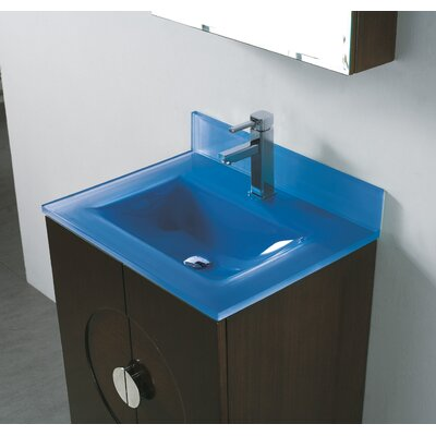 Tempered Glass Self Rimming Bathroom Sink Sink Finish: Ocean Blue