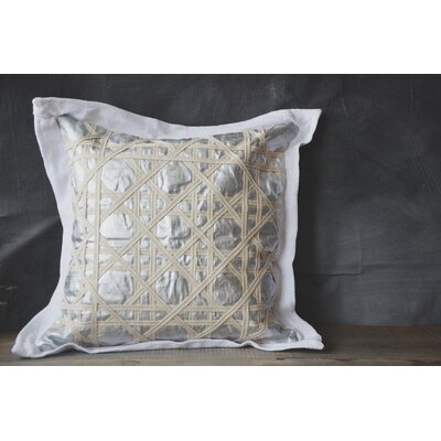 Patina Vie Vintage Caning Sea Linen Throw Pillow Color: Silver