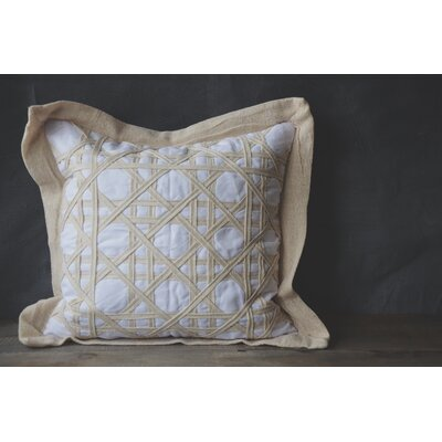 Patina Vie Vintage Caning Sea Linen Throw Pillow Color: White