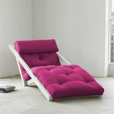 Figo Futon Chair Upholstery Color: Fuchsia, Finish: White
