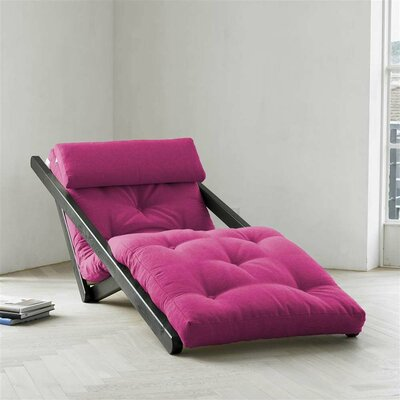 Figo Futon Chair Upholstery Color: Fuchsia, Finish: Black