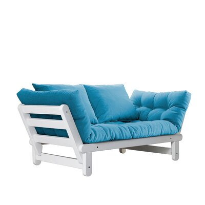 Beat Futon and Mattress Finish: White, Upholstery: Blue