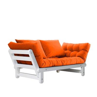 Beat Futon and Mattress Finish: White, Upholstery: Orange