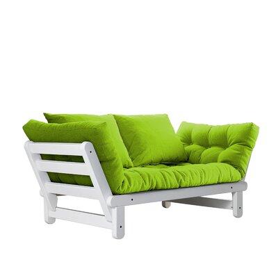Beat Futon and Mattress Upholstery: Lime, Finish: White