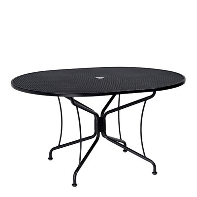 Premium Mesh Top Oval Umbrella Dining Table Finish: Hammered Pewter, Table Size: Oval 42 x 72