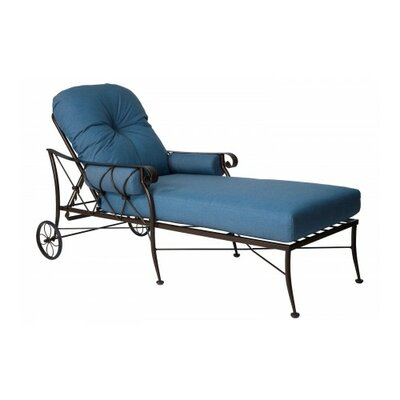 Derby Chaise Lounge With Cushion Fabric: Blue