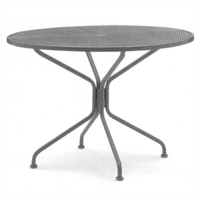 Premium Mesh Top Round Umbrella Dining Table Finish: Hammered Pewter, Table Size: 48